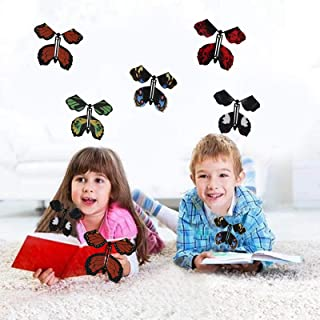 LKLK Surprise Gift Wrap Magic Flying Butterfly Clockwork Rubber Band Powered Butterfly (5PC, B)