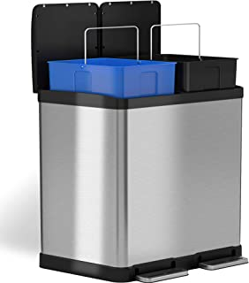iTouchless 16 Gallon Dual Step Trash Can & Recycle, Stainless Steel Bin Body with Handle, Includes 2 x 8 Gallon (30L) Removable Buckets are Color-Coded, Soft-close and Airtight Lid, 8 + 8, Silver