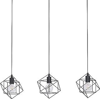 EGLO Lámpara colgante Straiton, 3 focos, vintage, industrial, moderna, de acero en negro, para mesa de comedor, para salón, con casquillo E27, 90,5 cm de largo