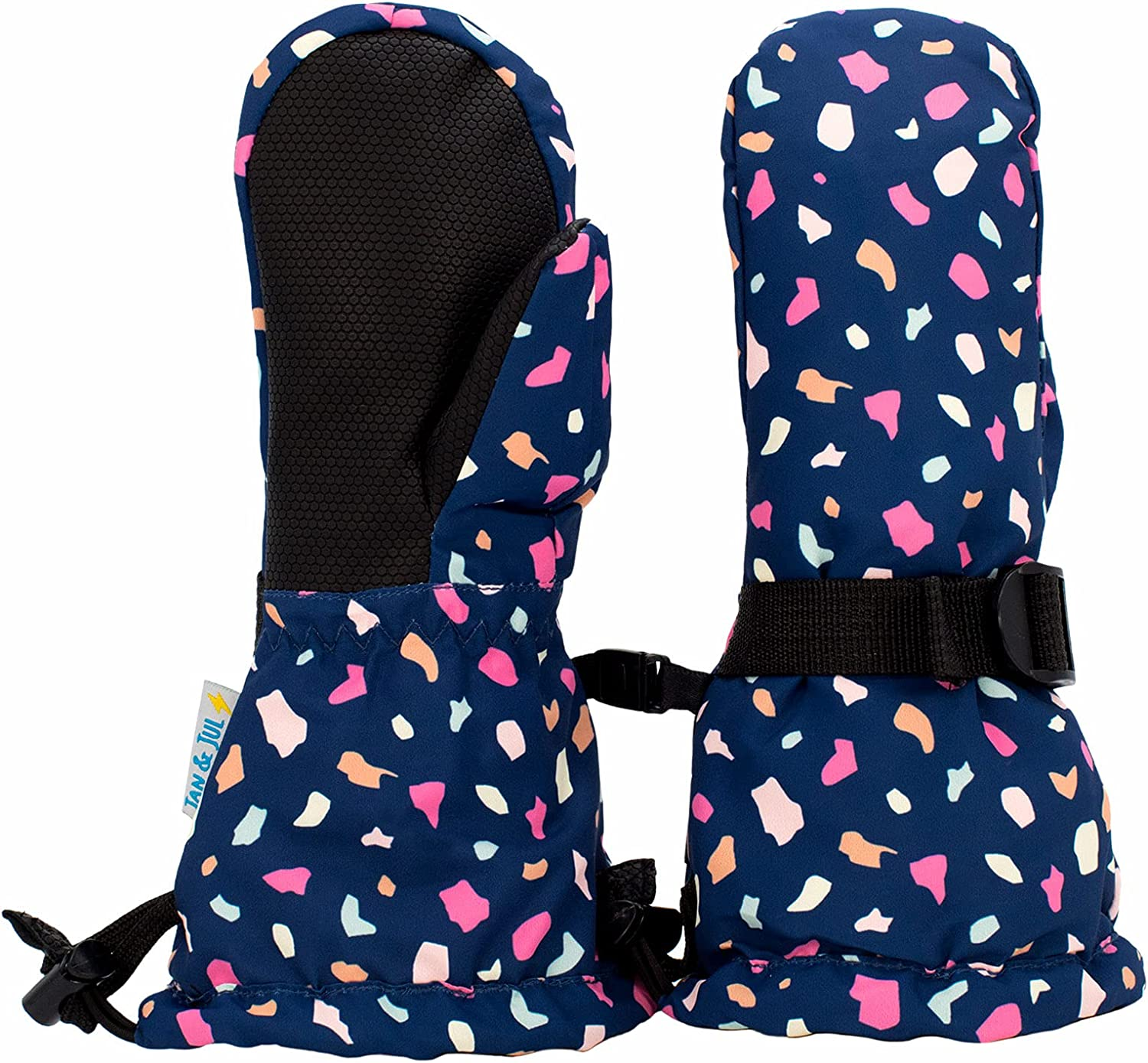 Waterproof Stay-on Winter Snow and Ski Mittens Fleece-Lined for Baby Toddler Girls and Boys