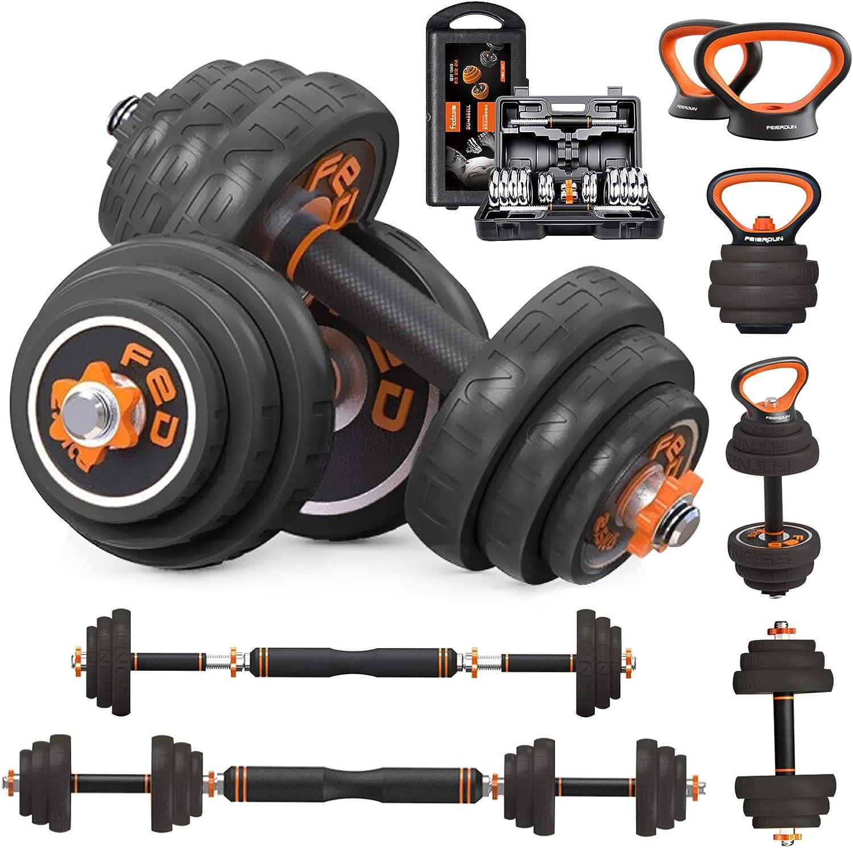 6 in 1 Non-Slip Exercise /& Fitness Iron Dumbbell Kettlebells Barbells for Men Women Home Gym MageeLeigh Adjustable Dumbbells Sets 33//44//66 lbs