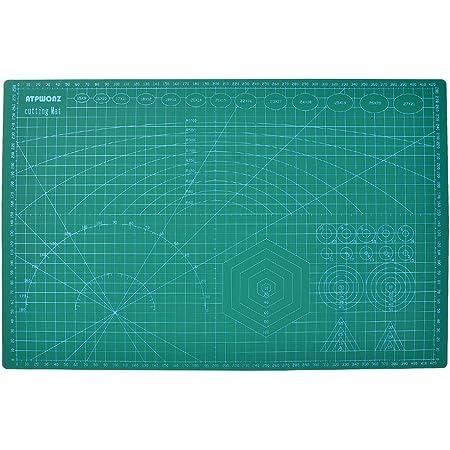 ATPWONZ カッターマット A3 カッティングマット 5層シート構造 両面印刷 傷自動癒合機能 300×450×3mm グリーン