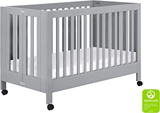 Babyletto Maki Full-Size Portable Folding Crib with Toddler Bed Conversion Kit, Grey