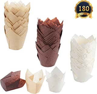 SUBANG 180 Pieces Tulip Cupcake Liner Baking Cups Muffin Tins Treat Cups for Weddings, Birthdays, Baby Showers,Brown Natural And White