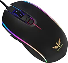 KEY IDEA Gaming Mouse Wired Optical Mouse 4000 DPI and 1000 Hz Polling Rate LED RGB Lights and 7 Buttons for Laptop,Mac (Black-10)
