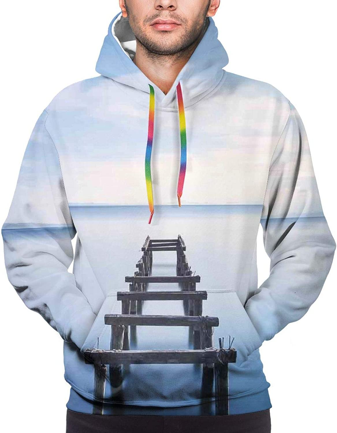 Men's Hoodies Sweatshirts,Old Houses in A Small Town Sea and Flower Pots at Windows Oil Painting Style