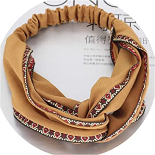 Women's Hairbands Elastic Headband Twist Knot Wide New Print Headwear Bohemian Ethnic Embroidery Hair Band Hair Accessories,mustard headband