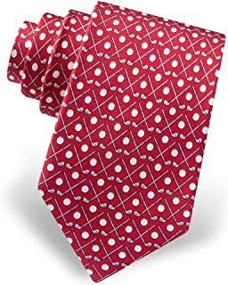 Men's 100% Silk Crossed Golf Clubs & Balls Golfer Golfing Novelty Necktie Tie
