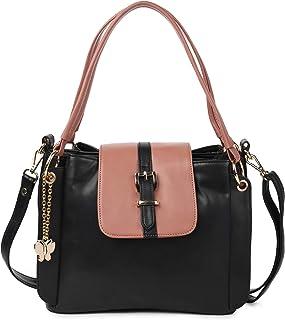 Butterflies Women's Handbag with Adjustable Strap for Women and Girls (Black::Peach) (BNS 0762BK)