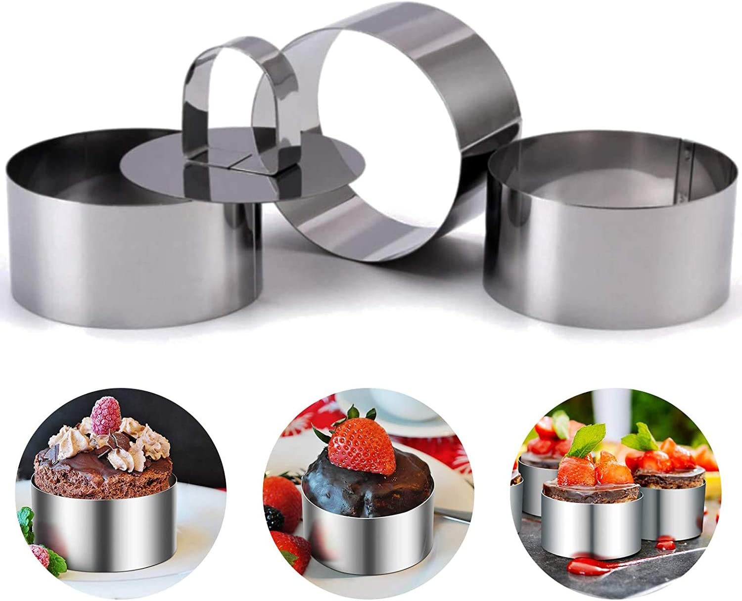Set of 4 Free Shipping New - Round Stainless Small San Antonio Mall Steel Rings Cake Mousse
