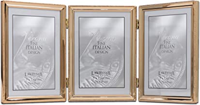 Lawrence Frames 11757T Classic Bead Picture Frame, 5x7 Triple, Gold