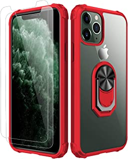 iPhone 11 Pro Max Case,[ Military Grade ] with [ Glass Screen Protector] 15ft. Drop Tested Protective Case   Kickstand   Compatible with Apple iPhone 11 Pro Max -Red