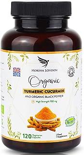 Cápsulas de Cúrcuma con Pimienta Negra – Suplemento Alimenticio de Gran Potencia – 120 Cápsulas Veganas – Capsulas de Curcuma Organica – Hecho en el U.K