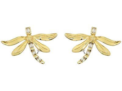 Vince Camuto Large Dragonfly Stud Earrings (Gold/Crystal) Earring