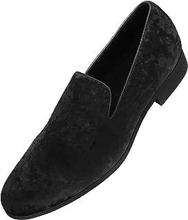 Amali Hauser Men's Dress Shoes Crushed Velvet Luxurious Slip-on Driver Shoes for Men Velvet Loafers The Original Smoking Men Tuxedo Slipper Shoes
