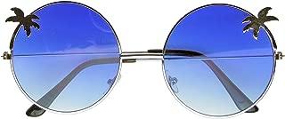 Emblem Eyewear - Indie Palm Tree Gradient Lens Round Hippie Sunglasses