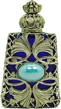 Gabriella's Gifts Czech Jeweled Decorative Blue w/Blue Stone Perfume Oil Bottle Holder