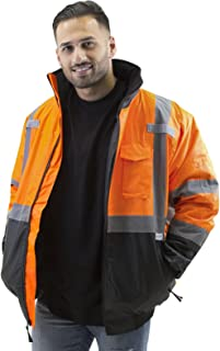 JORESTECH Safety Bomber Jacket Waterproof Reflective High Visibility with Detachable Hood Orange ANSI Class 3 Level 2 Type R JK-01 (2XL)