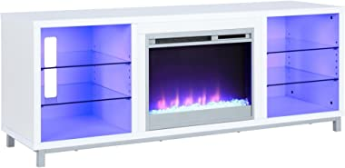 "Ameriwood Home 1822096COM Lumina Fireplace TV Stand for TVs upto 70"", White"
