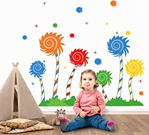 decalmile Large Colorful Tree Wall Decals Kids Wall Stickers Baby Nursery Childrens Bedroom Playroom Wall Decor