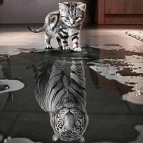 Pintura Diamante 5D, ❤ Amlaiworld Gato y tigre bricolaje 5d diamante bordado pintura DIY