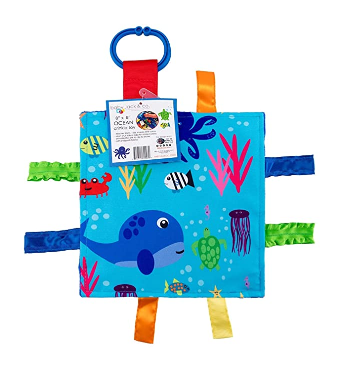 Baby Sensory Crinkle & Teething Square Lovey Toy with Closed Ribbon Tags Enhances Cognitive Social and Emotional Development 8 X 8 Inch (Ocean Animals)