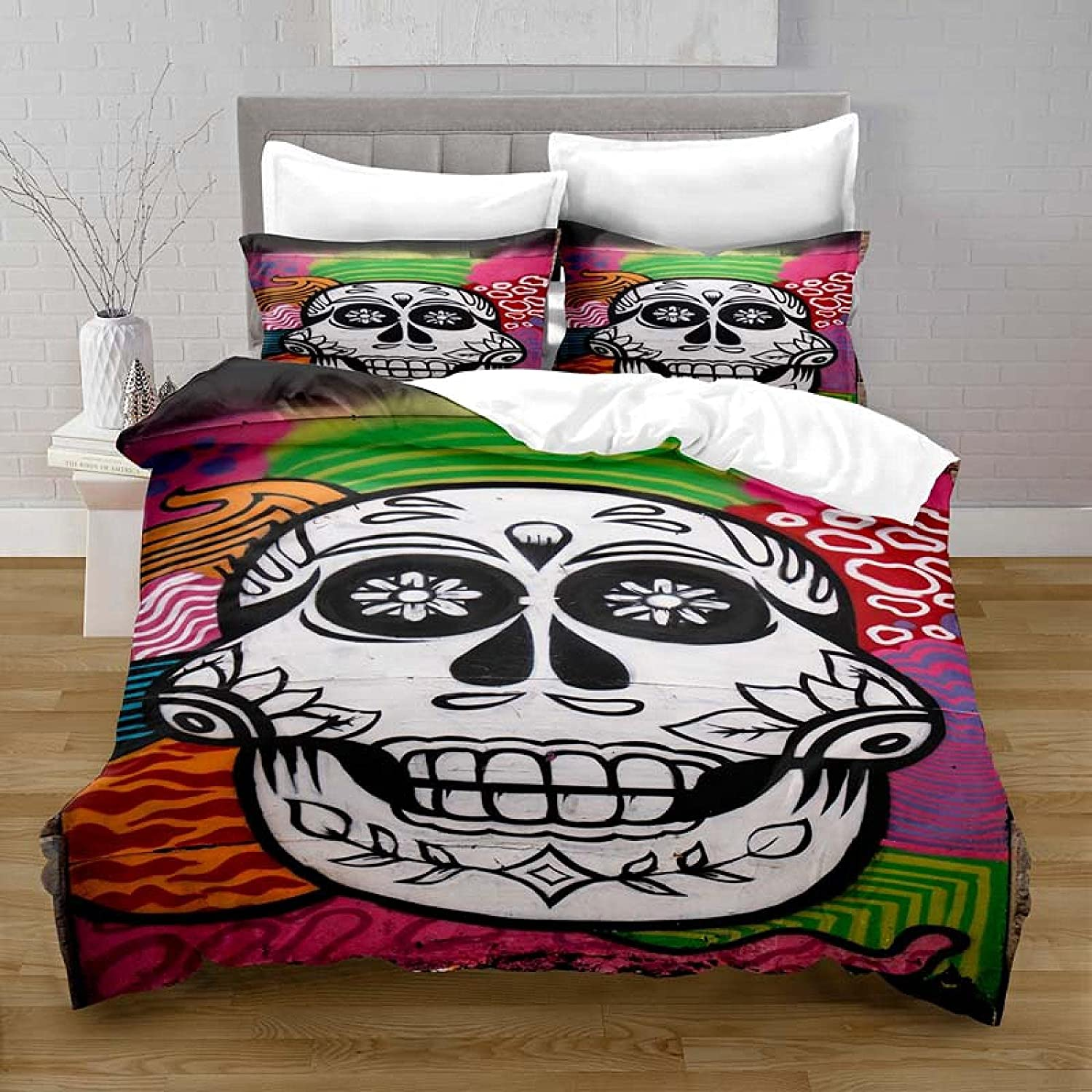 HQHM Duvet Cover King 3 Pieces 94X102 I Skull Great interest Leaf Pattern Color Chicago Mall