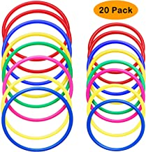 kiiier 20 Pcs Ring Toss Game Set,Multicolor Plastic Toss Ring Game Sets for Kids,Speed and Agility Practice Training Games,Fit for All Age Indoor Outdoor Family Games