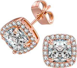 18K White Gold/Rose Gold Plated Square Cubic Zirconia Stud Earrings 6mm for Women Teen Girls Jewelry