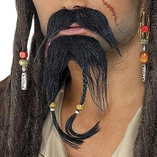 Set de barba pirata de Jack Sparrow pelo sintético cara carnaval