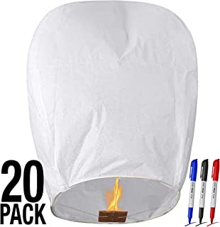 All Natural Shop 20 Pack White Chinese Sky Lanterns to Release in Sky - Biodegradable, Eco Friendly, Wire-Free Flying Paper Lanterns. Our Memorial Floating Wish Lanterns Can Be Used for Any Occasion!