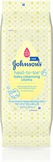 Johnson's Head-to-Toe Gentle Baby Cleansing Cloths, Hypoallergenic, Free of Alcohol, Dyes, and Soap, 15 ct ( Pack of 5)