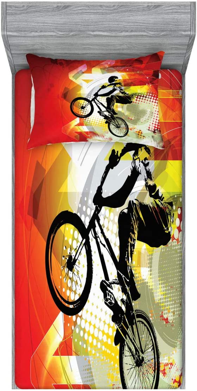 新作 大人気 Lunarable Dirt Bike Fitted Sheet Pillow Si Rider 国内即発送 Sham BMX Set