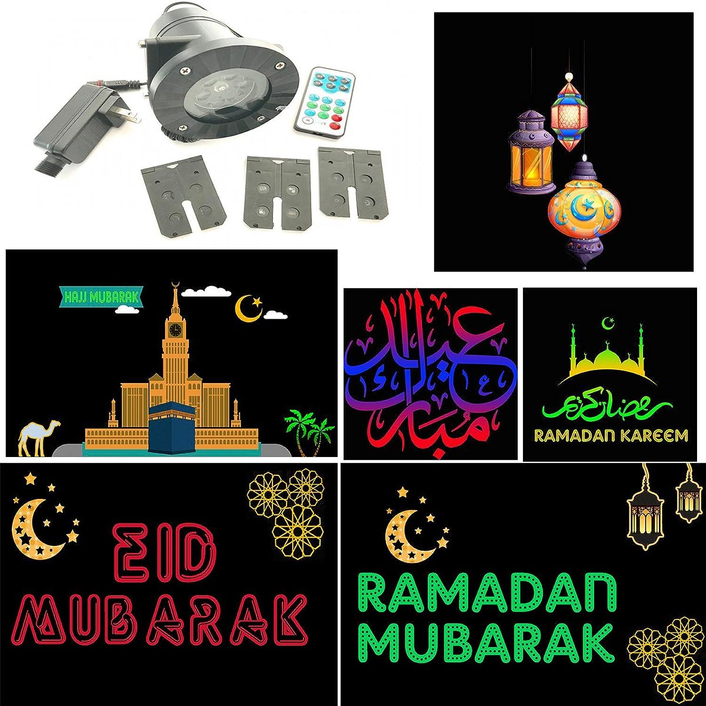 Ramadan Eid Hajj Arabic English LED Projector Lights 6 Slides Indoor & Outdoor Waterproof
