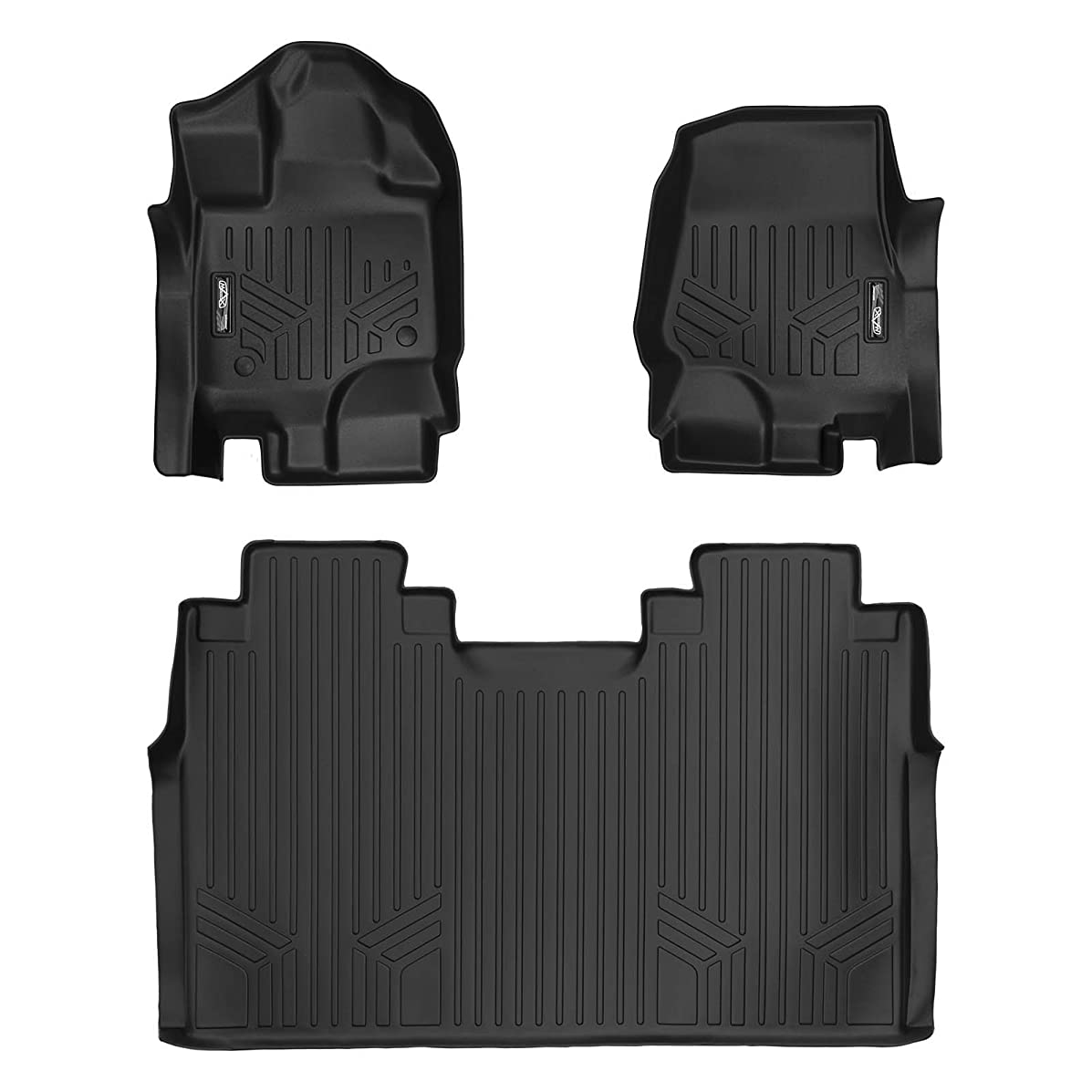 SMARTLINER Floor Mats 2 Row Liner Set Black for 2015-2018 Ford F-150 SuperCrew Cab with 1st Row Bench Seats