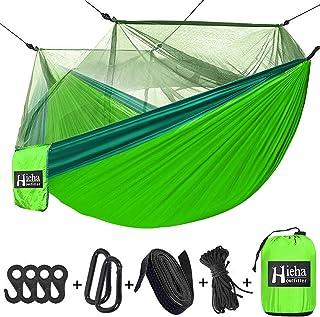 Hieha Camping Hammock with Mosquito Net, Portable Double & Single Tree Hammocks with 2 Tree Straps, Travel Hiking Hammocks...