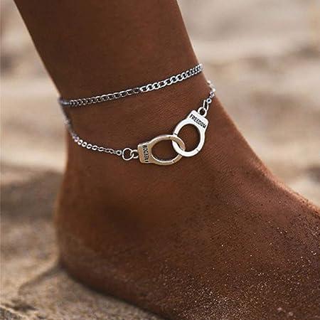 Yienate, cavigliera doppia con ciondolo a forma di manette, stile bohémien, colore argento