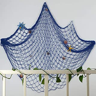CoZroom Mediterranean Style Fishing Nets with Sea Shells and Anchor Decorative Background Wall Bar for Home Decoration (Blue)