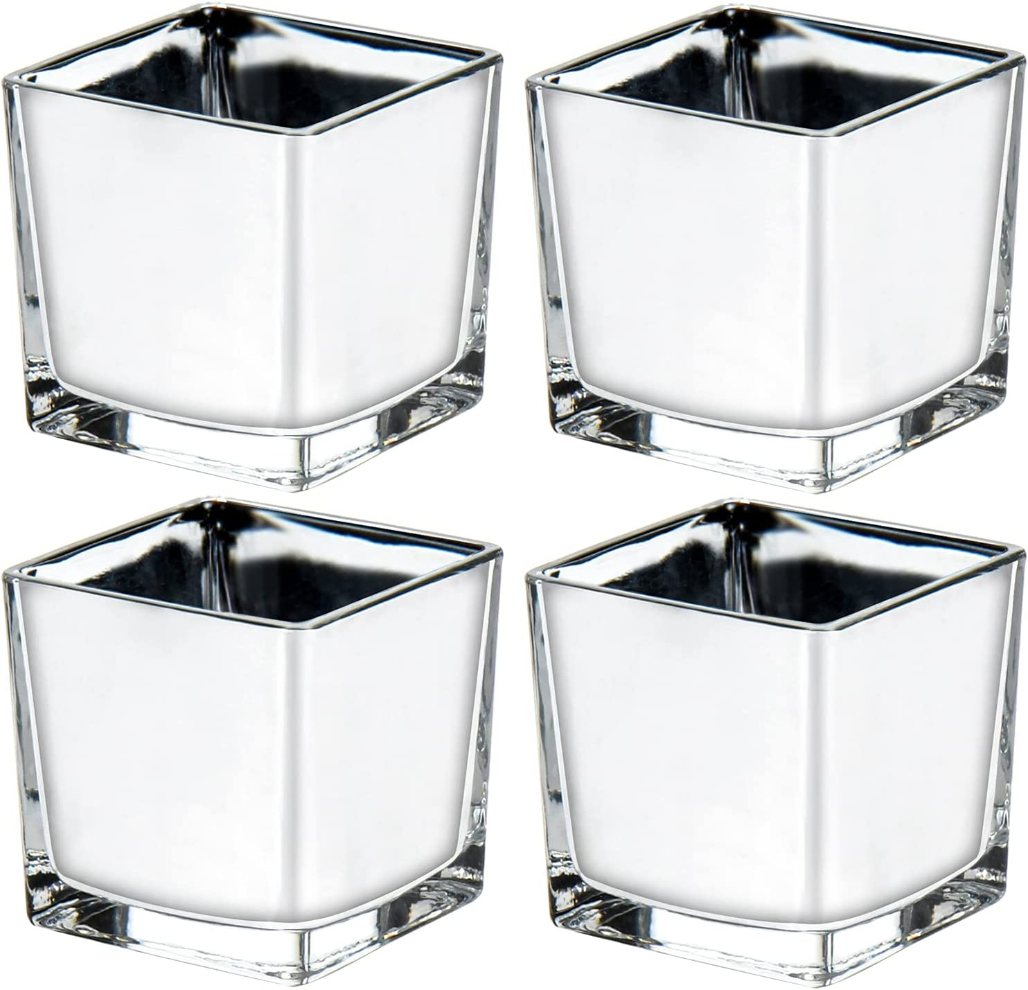 Portland Mall Square Glass Vases Silver Cube lowest price C Wedding Candle for Holder