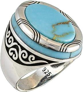 خاتم رجالي فاخر من فضة الستيرلنج 925 باللون الفيروزي الصناعي المصنوع يدويًا بتصميم تركي