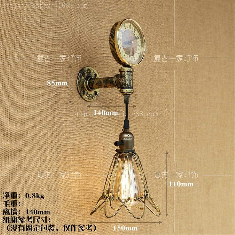 B-Kande Wasserpfeifenwandleuchte einfaches nostalgisches Dekorationscafé der Wasserrohrwandlampenstange, L-Abschnitt grün, mit LED-Birne
