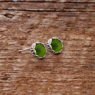 Recycled Early 1900's Olive Green Wine Bottle and Sterling Silver Botanical Collection Stud Earrings