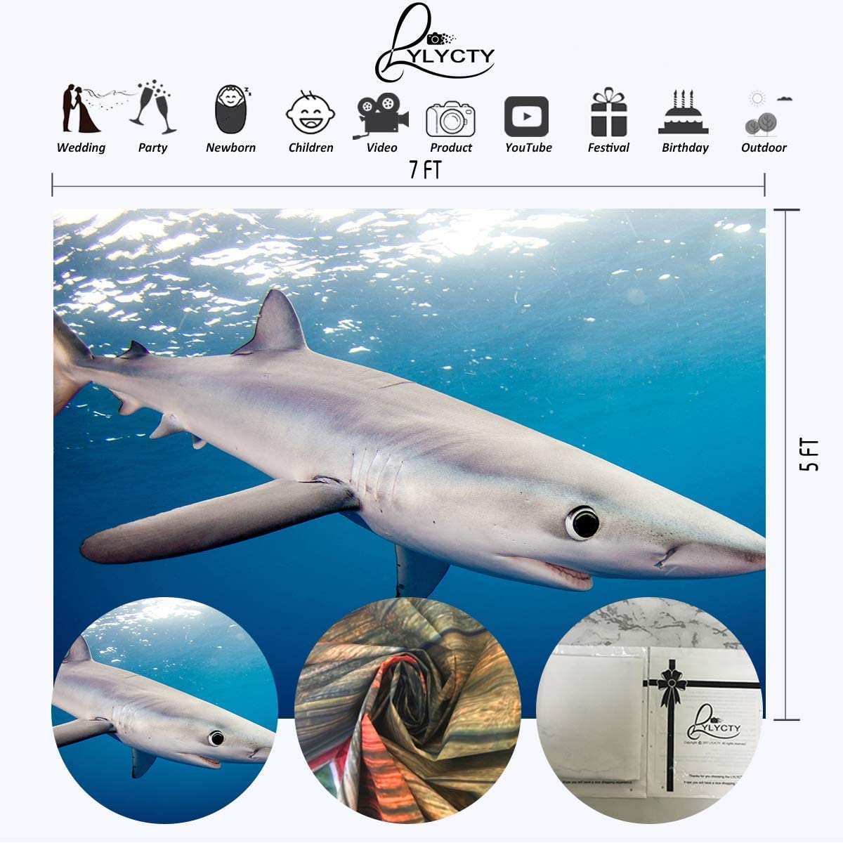 10x6.5ft Vinyl Shark Background White Shark Blue Water for The Aquarium Photography Background Marine Life Film Photography Background LY255 for Party Decoration Birthday YouTube Videos School Photosh