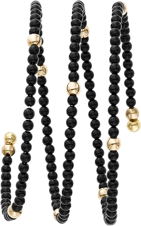 14K Yellow Gold Finish 3mm Shiny Double Strand Wrap-Around Bead Bangle with 2mm Ball Black Onyx