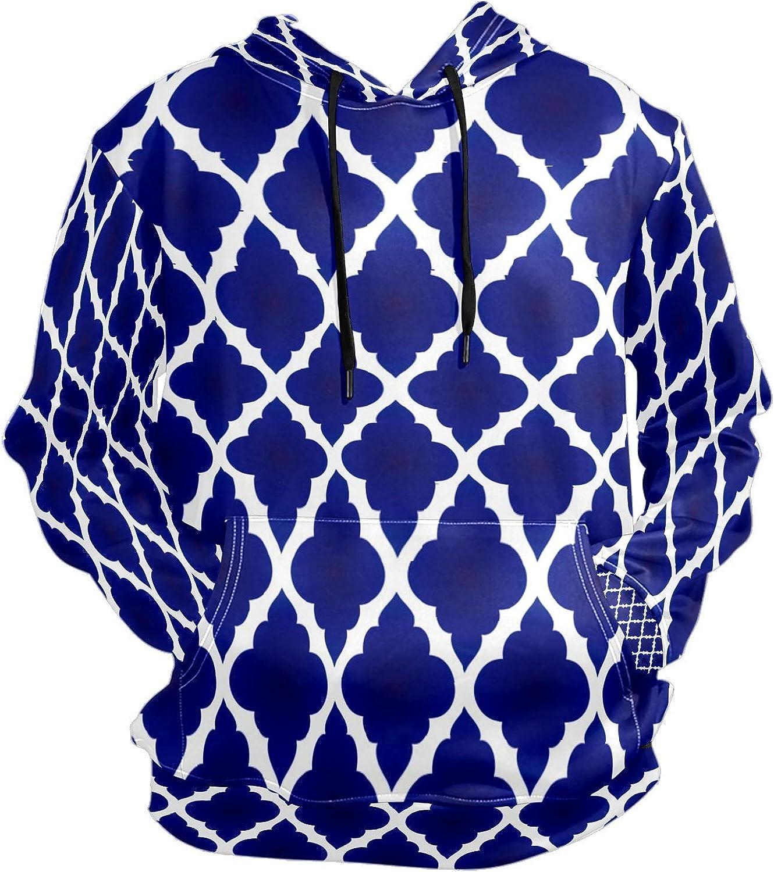 Men's Sport Hoodie Vintage Blue Lattice Big and Tall Hoodies for Men Women Oversized Hooded Sweatshirt Hip Hop Pullover Hoodie Midweight Hood for Boys Girls