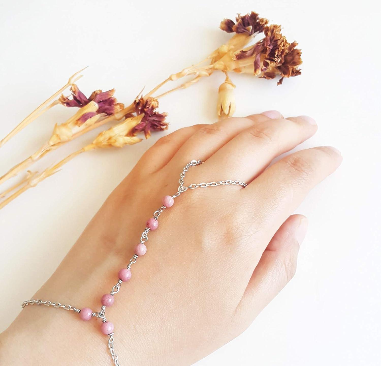 Rhodonite Max 47% Indefinitely OFF slave bracelet - Delicate Pink bracel hand chain