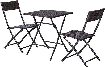 Outsunny Conjunto de 3 Piezas de Ratán Juego de 2 Sillas y Mesa para Patio Balcón Jardín Plegable Diseño Trenzado Elegante Mesa de 60x60x72 cm Color Marrón