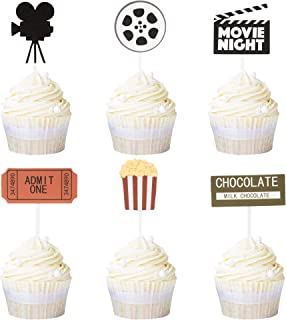 Newqueen 24 Pack Movie Cupcake Toppers Movie Night Cupcake Picks Hollywood Theme Baby Shower Birthday Party Cake Decoration