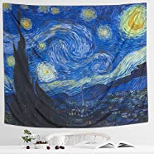 IcosaMro Starry Night Tapestry Wall Hanging, Van Gogh Art Wall Tapestries [Double-folded Hems]- Blue Star Wall Blanket for Bedroom, Dorm, College, Living Room, (51x60