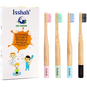 Isshah Kids Bamboo Toothbrushes Biodegradable Handle BPA Free Eco Friendly Children Size, Pack of 4 (Spiral Soft Nylon Bristles)